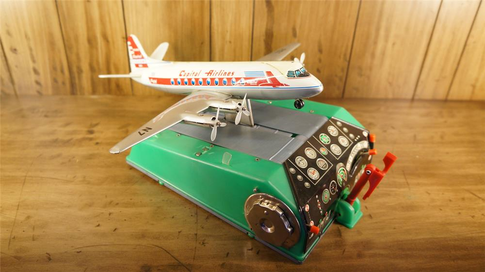 Very neat 1950's Capitol Air tin Toy Trainer airplane. - Front 3/4 - 180283