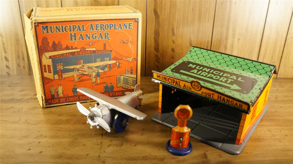 Late 1920's N.O.S. Marx Municipal Hanger tin toy set still in the original box! - Front 3/4 - 180285