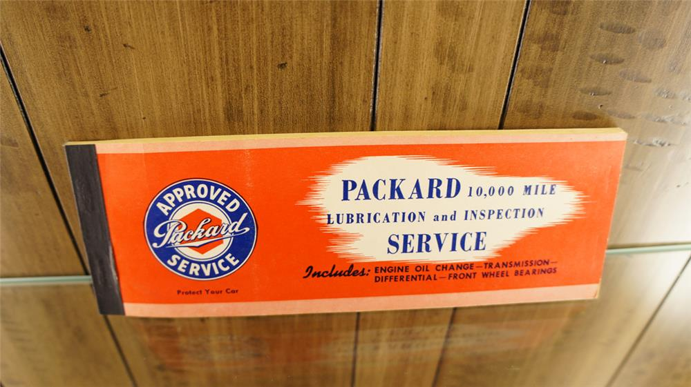N.O.S. 1948 Packard Lubrication Service customer coupon book. - Front 3/4 - 180313