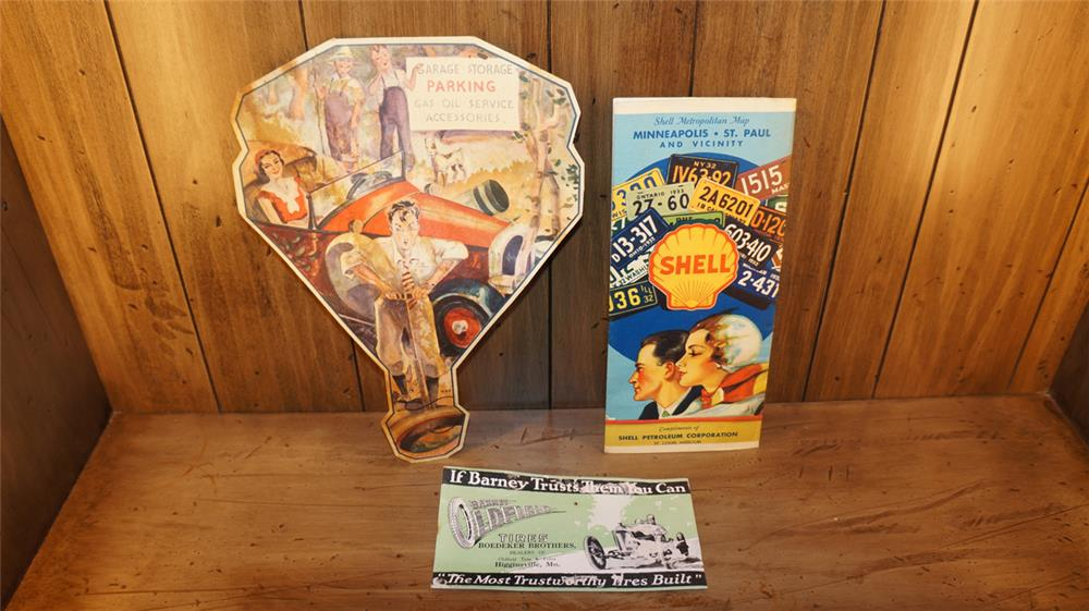 Lot consisting of a 1932 Shell Oil Road Map of Minneapolis, 1920's service station promotional fan and an Oldfield Tires blotter. - Front 3/4 - 180342