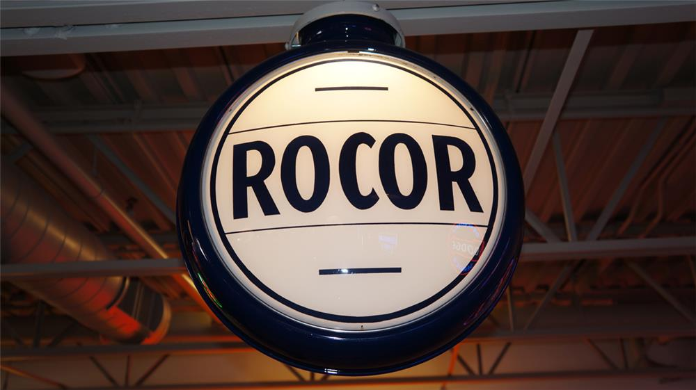 1930's Rocor gas pump globe with repainted metal body. - Front 3/4 - 180358