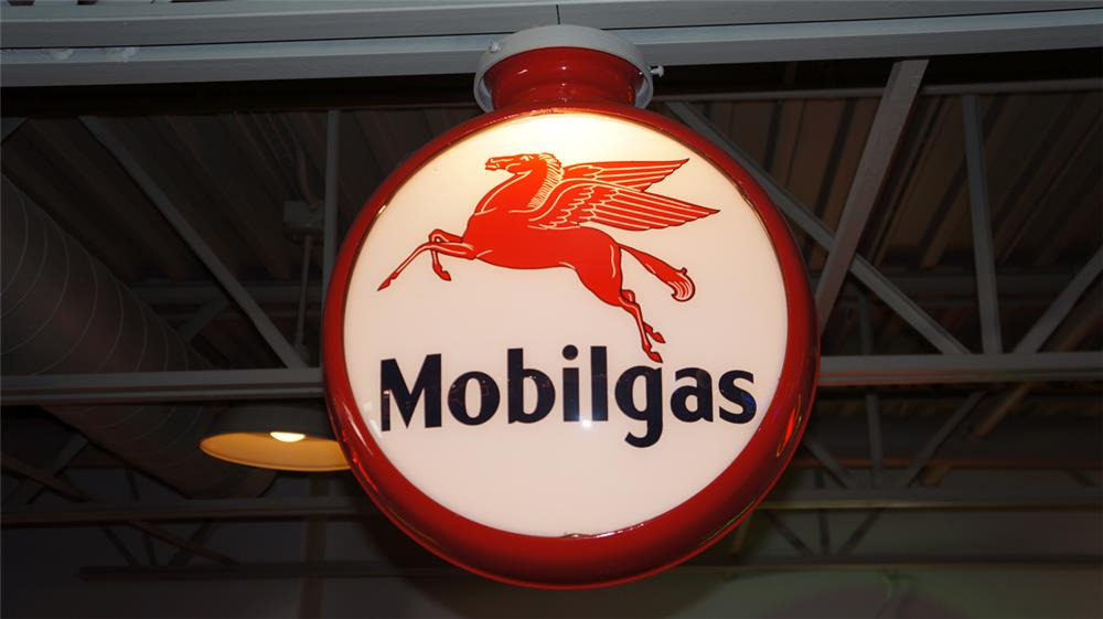 1930's Mobilgas with Pegasus restored metal bodied gas pump globe. - Front 3/4 - 180361