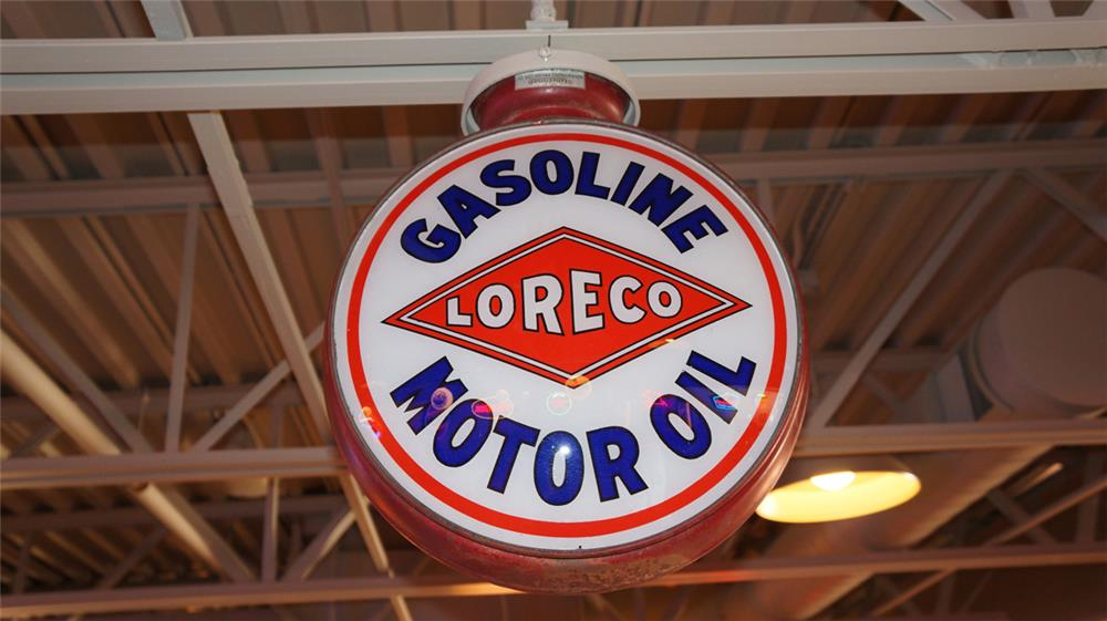 1920's-early 30's Loreco (Louisiana Oil Refining Company Gasoline-Motor Oil metal bodied gas pump globe. - Front 3/4 - 180366