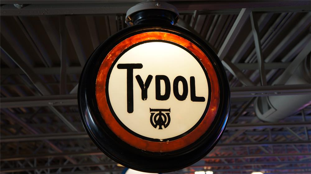 1930's Tydol Gasoline gas pump globe with etched lenses. - Front 3/4 - 180370