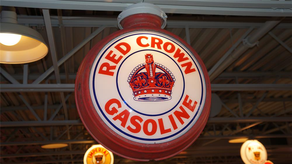 1930's Red Crown Gasoline metal bodied globe found all original. - Front 3/4 - 180372