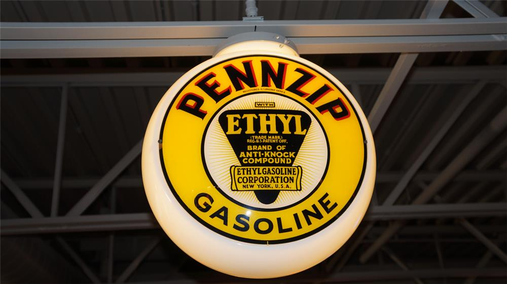 1930's-40's Pennzoil Pennzip Gasoline with Ethyl milk glass bodied gas pump globe.  One cracked lens. - Front 3/4 - 180374