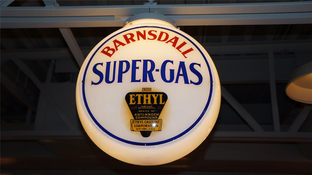 1940's Barnsdall Super-Gas with Ethyl milk glass bodied gas pump globe. - Front 3/4 - 180375