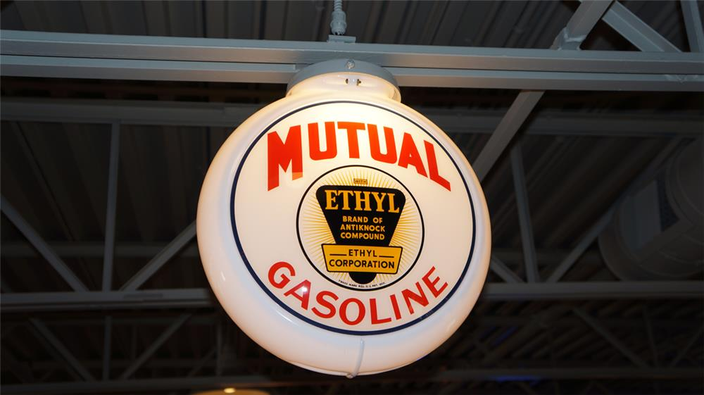 1940's Mutual Gasoline with Ethyl gas pump globe in a Capcolite body. - Front 3/4 - 180377