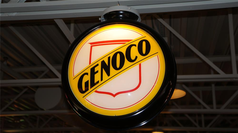Seldom seen 1930's Genoco Gasoline restored metal bodied gas pump globe. - Front 3/4 - 180386