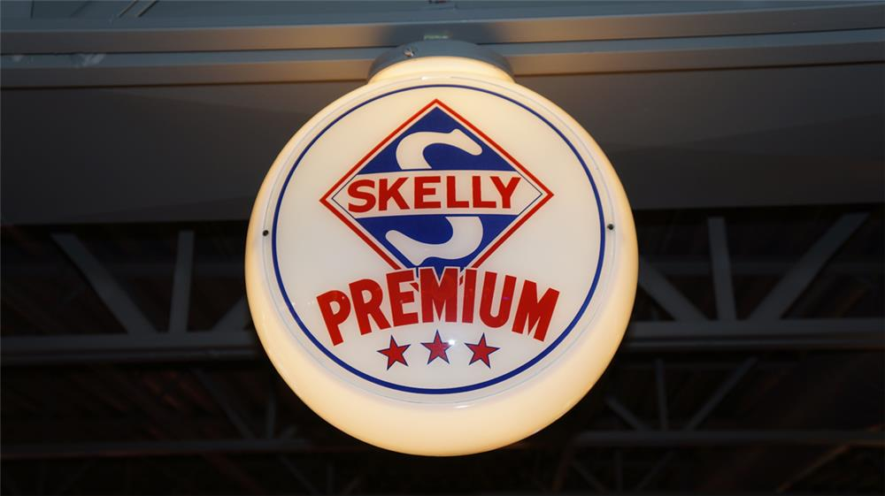 Good looking 1950's Skelly Premium Gasoline milk glass bodied gas pump globe. - Front 3/4 - 180393