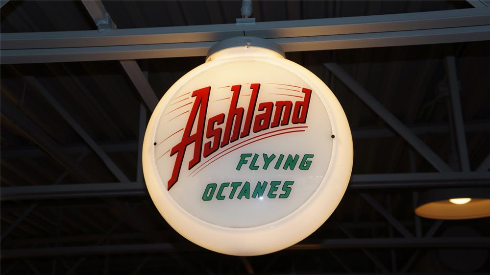 Sharp 1950's Ashland Flying Octanes Gasoline milk glass bodied gas pump globe. - Front 3/4 - 180397