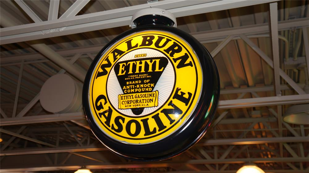 Scarce 1920's-30's Walburn Gasoline with Ethyl restored metal bodied gas pump globe. - Front 3/4 - 180399