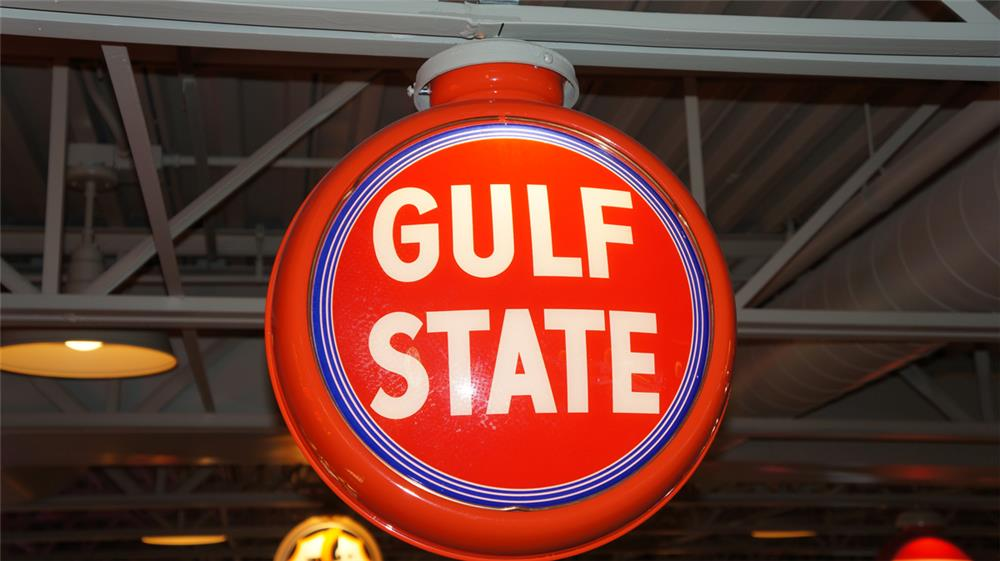 Highly prized Gulf State Gasoline restored metal bodied gas pump globe. - Front 3/4 - 180400