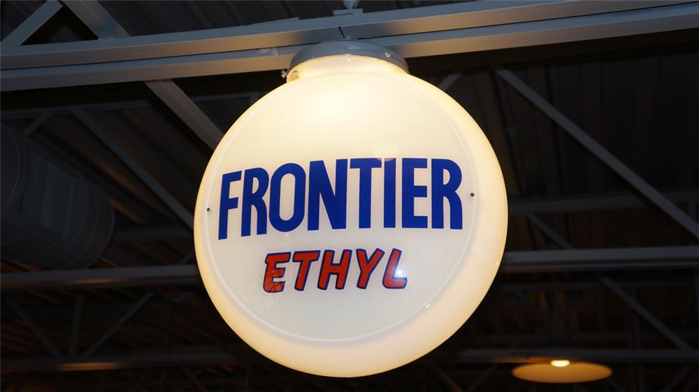 Choice 1940's-50's Frontier Ethyl Gasoline milk glass bodied globe. - Front 3/4 - 180422