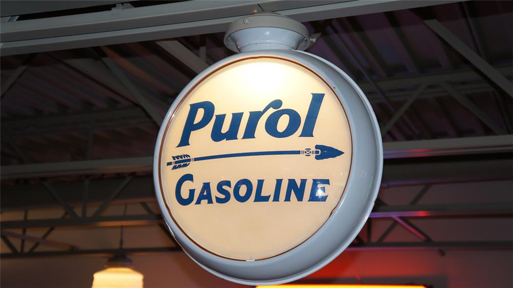 1920's-30's Purol Gasoline porcelain coated metal bodied globe. - Front 3/4 - 180458
