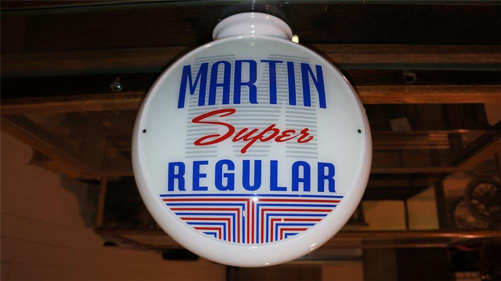 Martin Super Regular single-lens gas pump globe on a milk glass body. - Front 3/4 - 180463