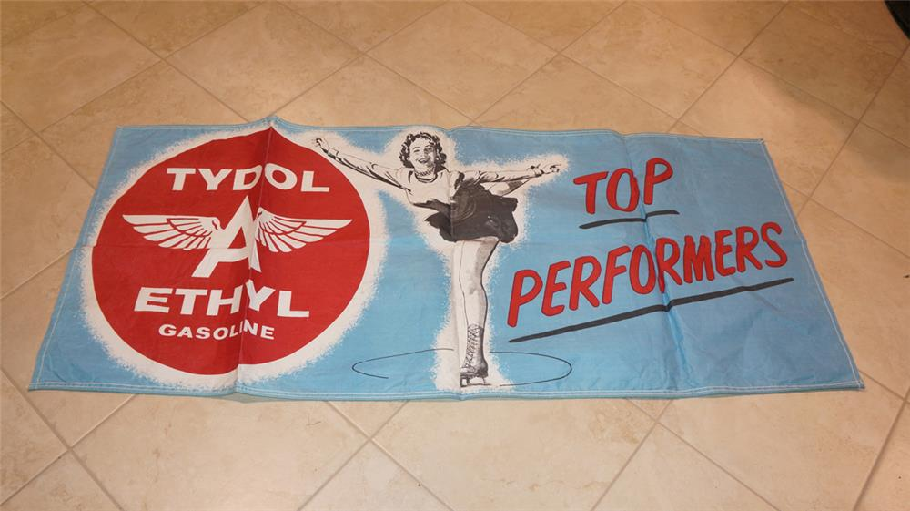 """Fabulous 1950's Tydol Flying A Ethyl Gasoline """"Top Performers"""" canvas station banner with nice ice-skating graphics. - Front 3/4 - 180986"""