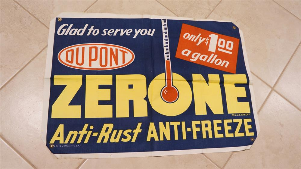 N.O.S. N.O.S. 1940's DuPont Zerone Anti-Freeze canvas station advertising banner. - Front 3/4 - 180989