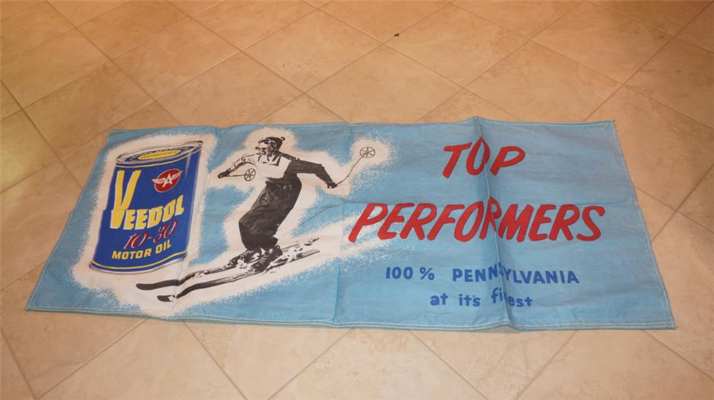 N.O.S. 1950's Veedol Top Performers canvas service station banner with alpine skiing graphics. - Front 3/4 - 180990