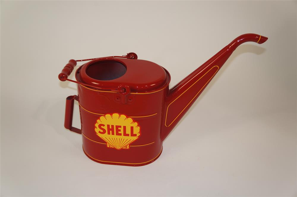 1940's Shell Oil restored service department radiator service/water can. - Front 3/4 - 181899