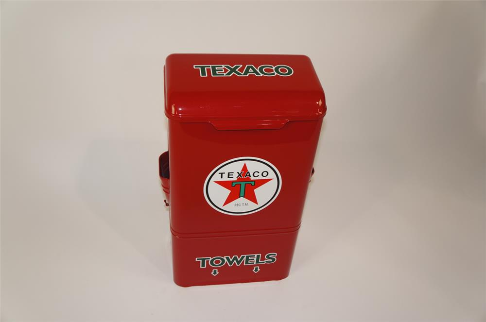 1950's restored Texaco Oil fuel island windshield service towel dispenser. - Front 3/4 - 181900