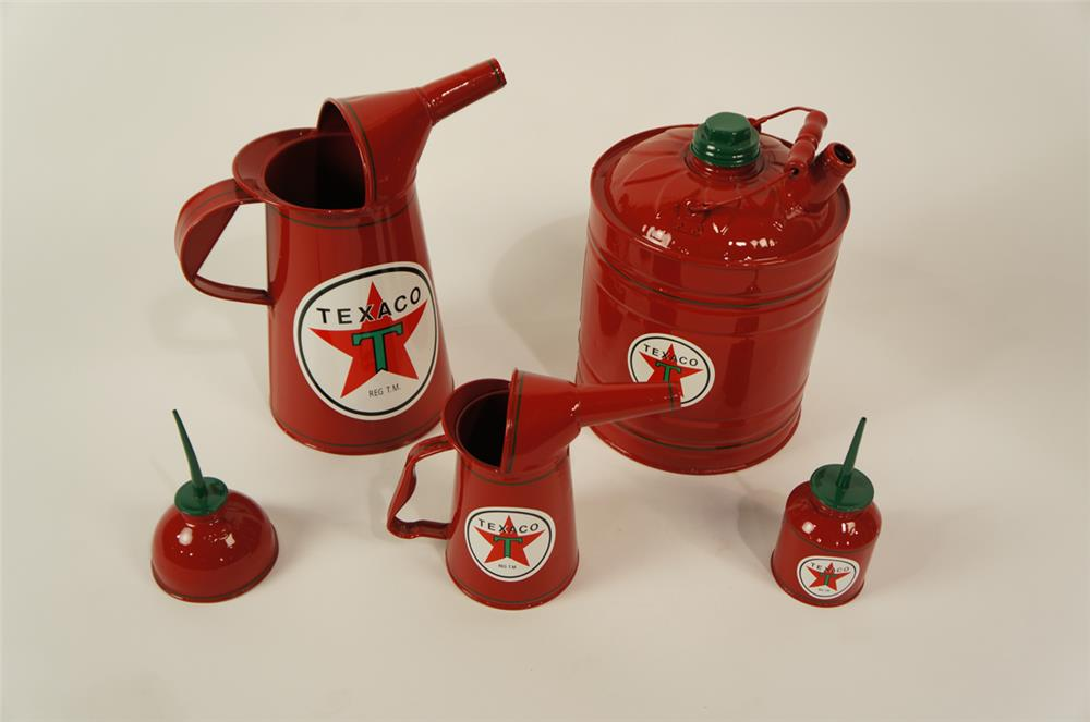Lot of five 1930's-50's Texaco Oil service department restored multi-fluid tins. - Front 3/4 - 181903