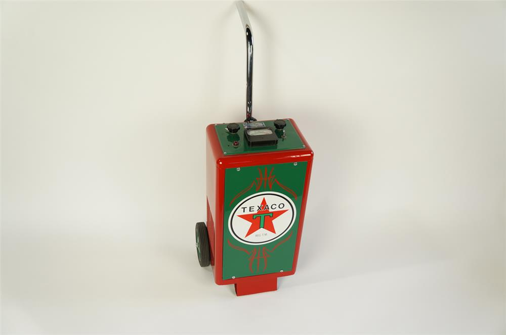 1950's-60's Texaco service department restored Sun Battery Tester on wheels. - Front 3/4 - 181908