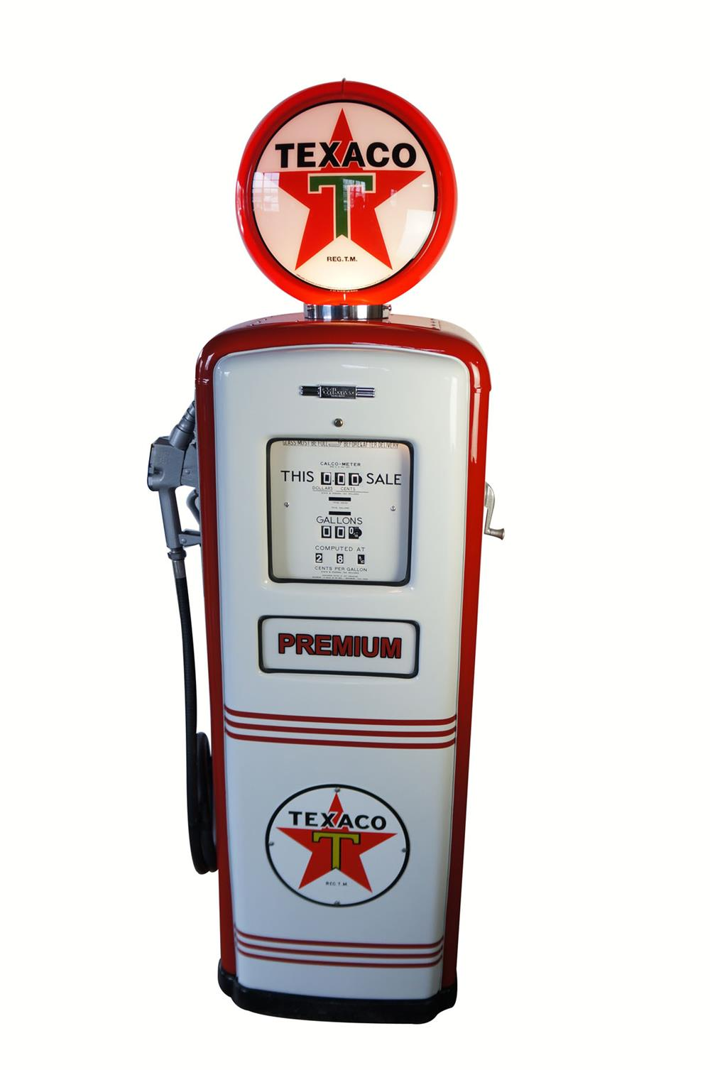 1949 Texaco Oil Gilbarco model 992 restored service station gas pump. - Front 3/4 - 181921