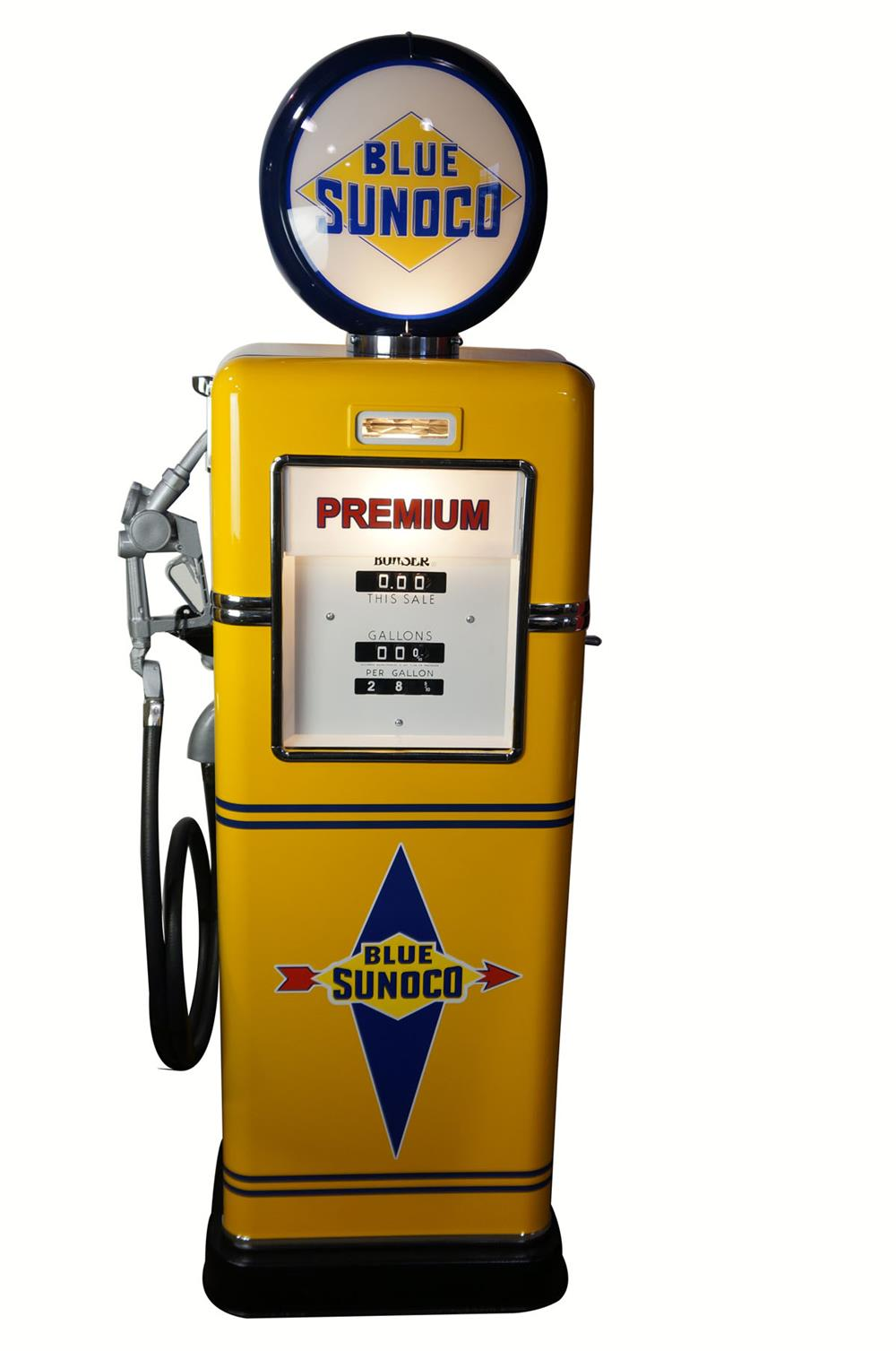 Late 1940's-early 50's Sunoco Oil Bowser model 595 restored service station gas pump. - Front 3/4 - 181925