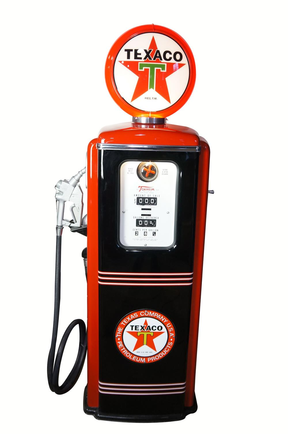 1950's Texaco Gasoline Tokheim model 39 restored service station gas pump. - Front 3/4 - 181927