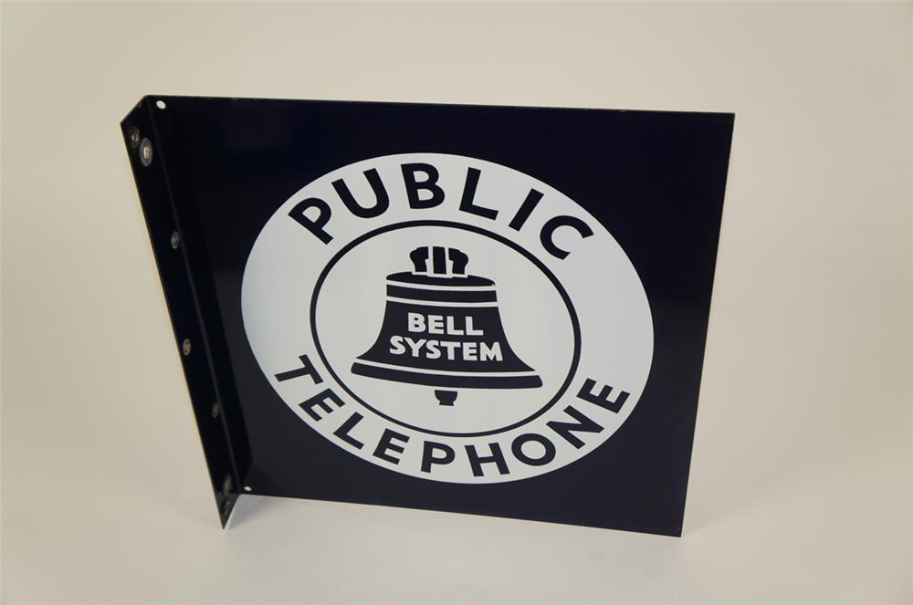 1930's-40's Bell Public Telephone double-sided porcelain sign with Bell logo. - Front 3/4 - 181933