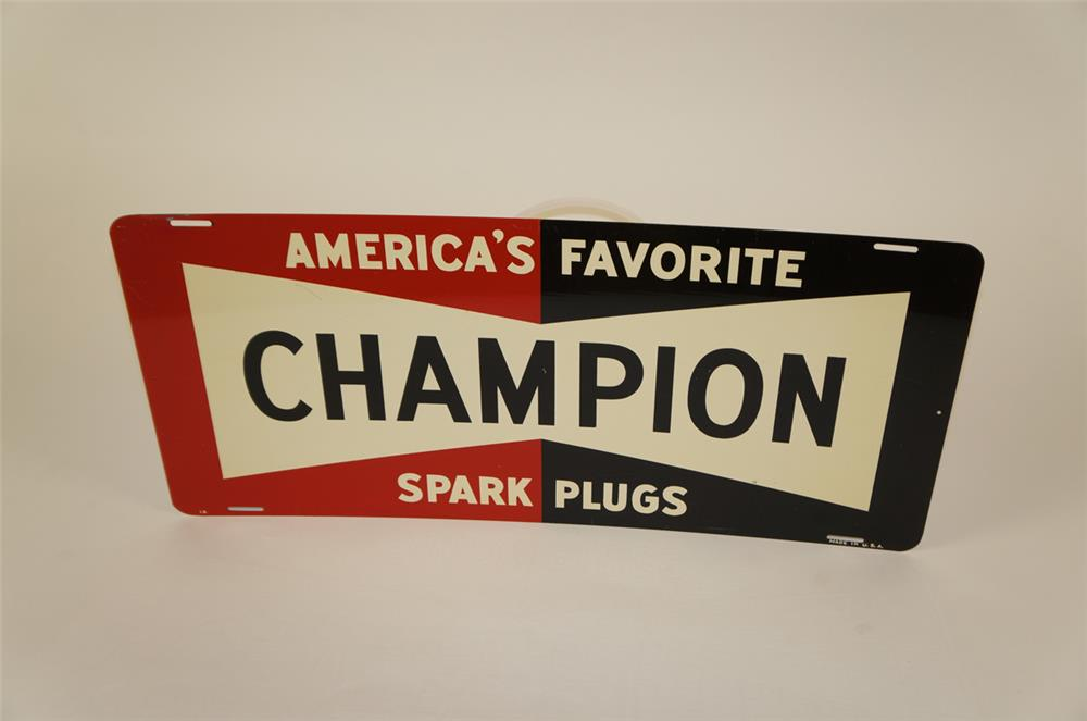 Late 1950's Champion Spark Plugs single-sided tin automotive garage sign. - Front 3/4 - 181935