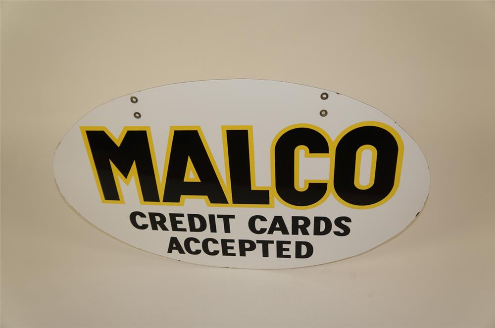 "1950's Malco Gasoline of New Mexico ""Cards Accepted"" double-sided porcelain service station sign. - Front 3/4 - 181937"