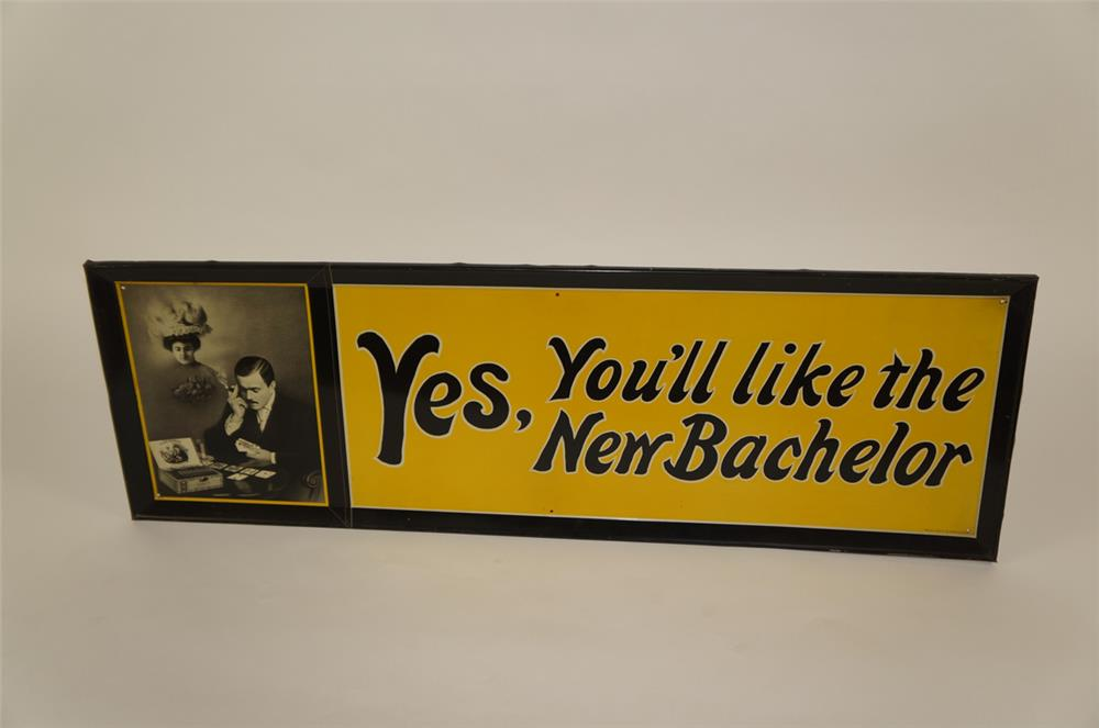 1920's New Bachelor Cigars single-sided self-framed tin sign - Front 3/4 - 181942