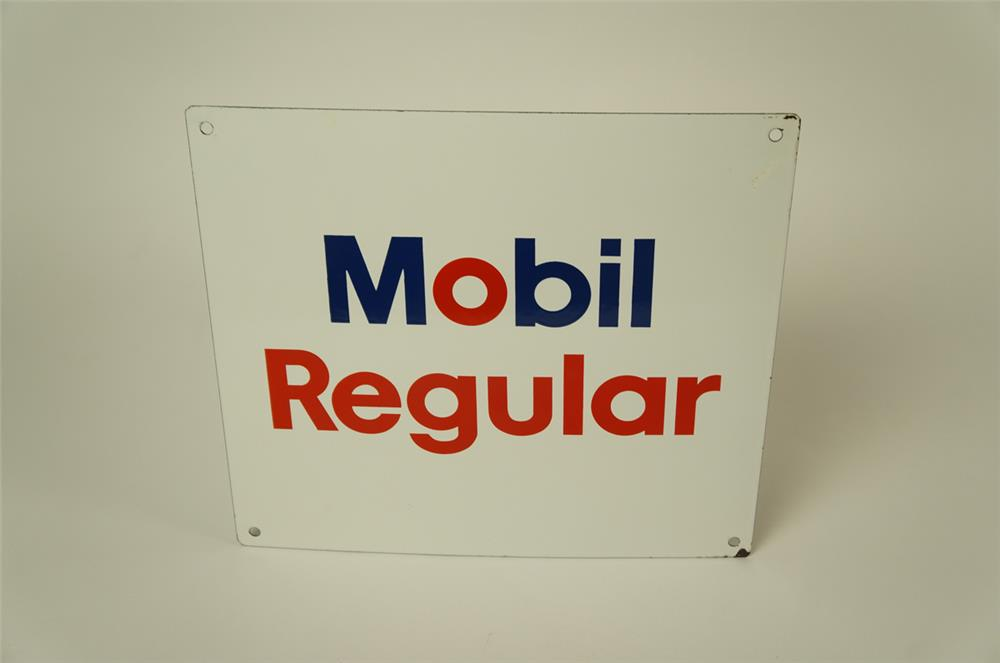 Late 1960's Mobil Regular single-sided porcelain pump plate sign. - Front 3/4 - 181947