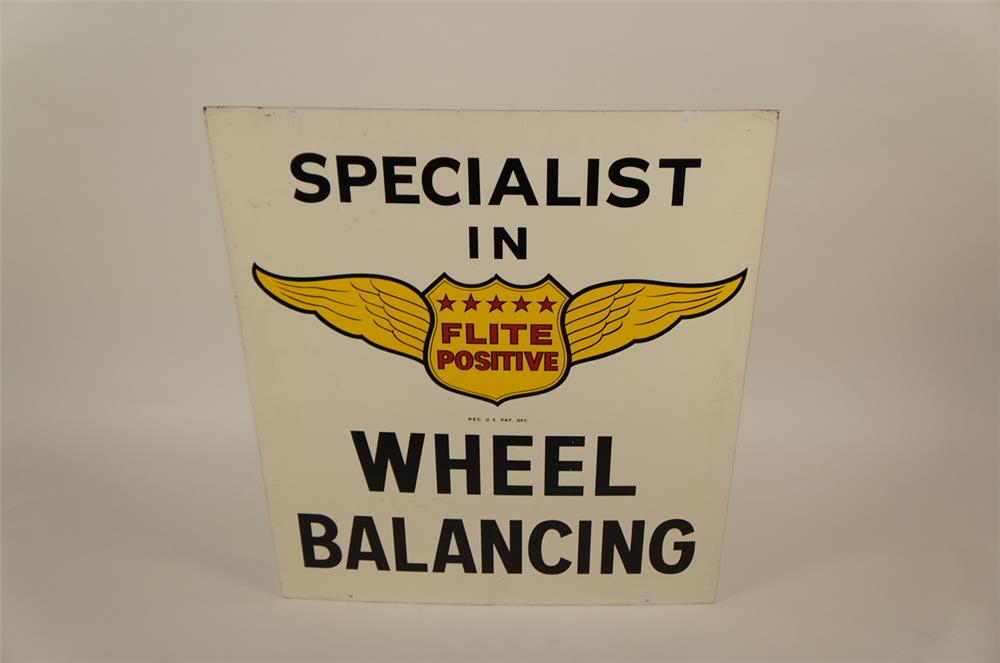 "1950's Flite Positive ""Specialist in Wheel Balancing"" double-sided tin sign - Front 3/4 - 181953"