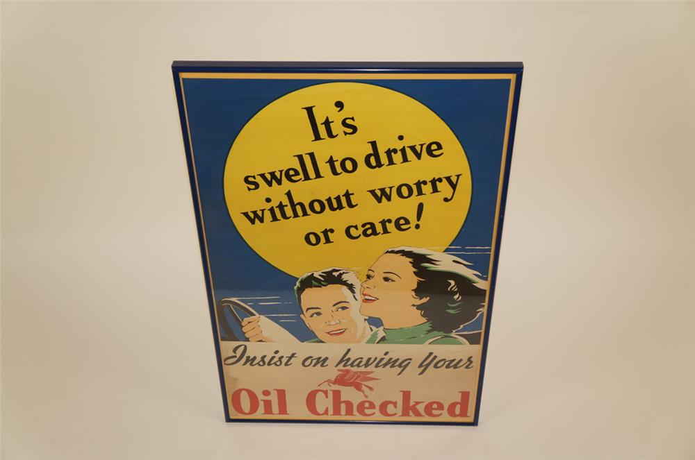 "1930's Mobil Oil ""It's swell to drive without worry"" service station poster - Front 3/4 - 181955"