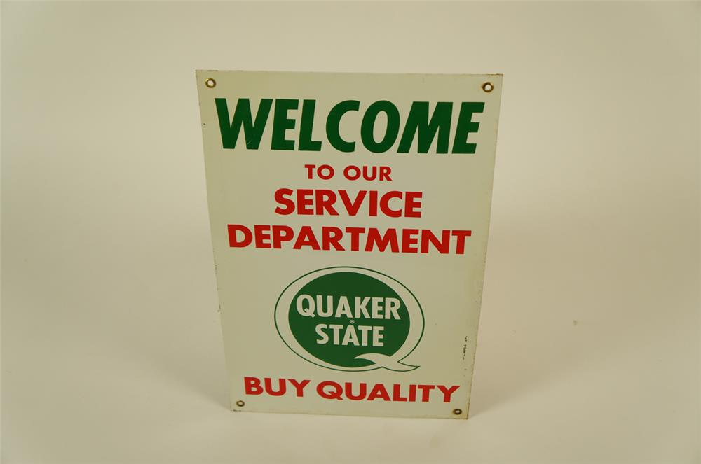 "NOS. Quaker State ""Welcome to our Service Department"" single-sided tin sign with logo. - Front 3/4 - 181956"