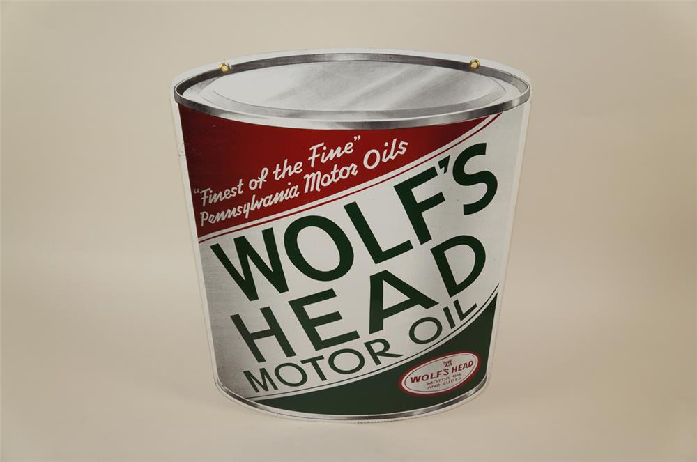 NOS. early 1960's Wolf's Head Motor Oil double-sided die-cut tin can shaped automotive garage sign. - Front 3/4 - 181961