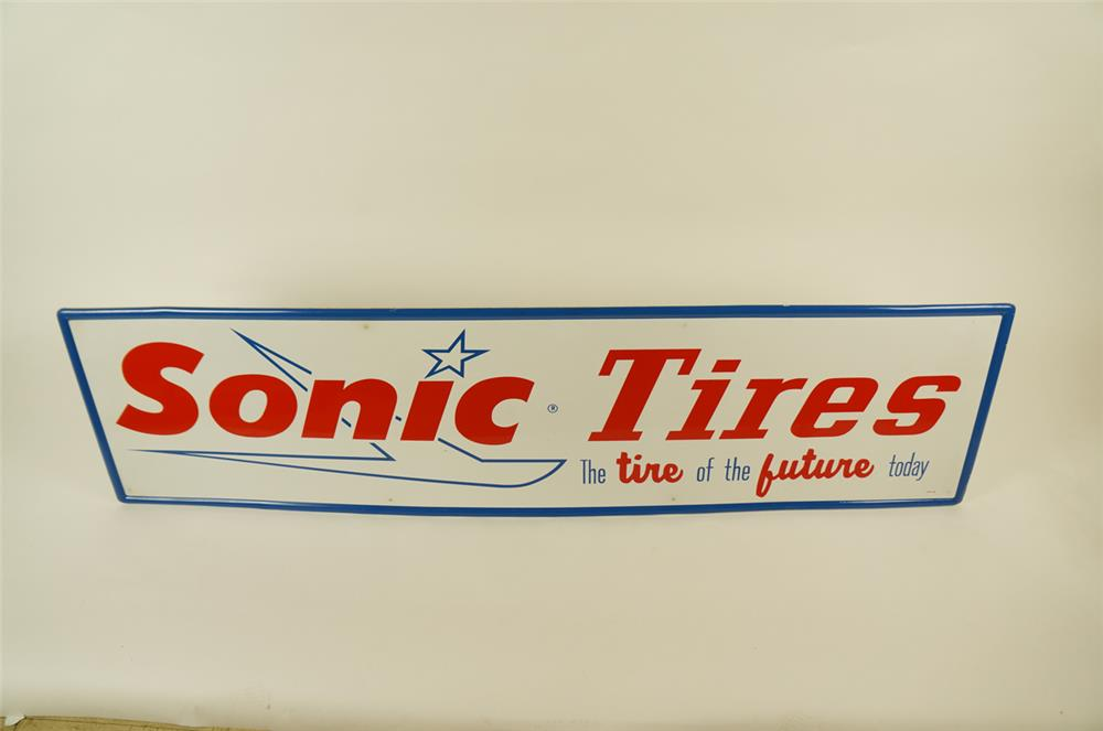 """NOS 1960's Sonic Tires """"The tire of the future today"""" single-sided self-framed tin automotive garage sign. - Front 3/4 - 181963"""