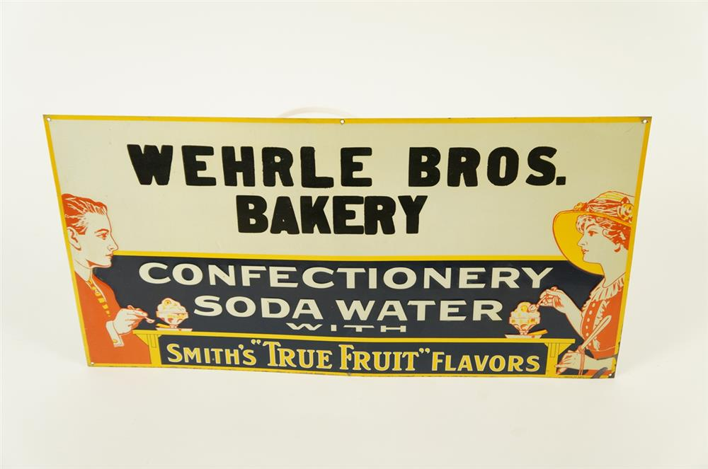 """1920's Confectionary - Soda Water with Smith """"True Fruit"""" Flavors single-sided embossed tin soda fountain sign - Front 3/4 - 181964"""
