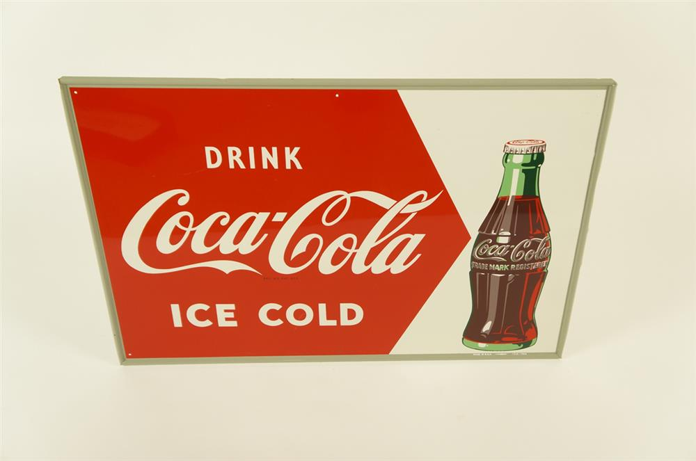 NOS 1952 Drink Coca-Cola Ice Cold single-sided self-framed tin sign - Front 3/4 - 181965