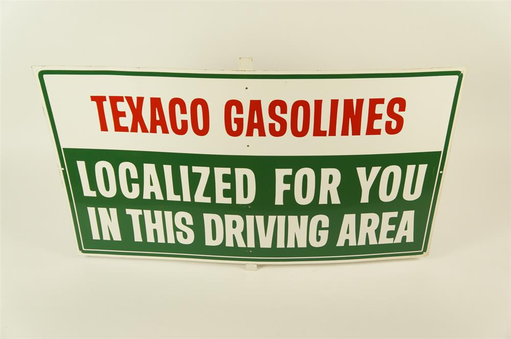 "NOS. 1950's Texaco Gasolines ""Localized for you""  single-sided self-framed tin service station sign. - Front 3/4 - 181967"