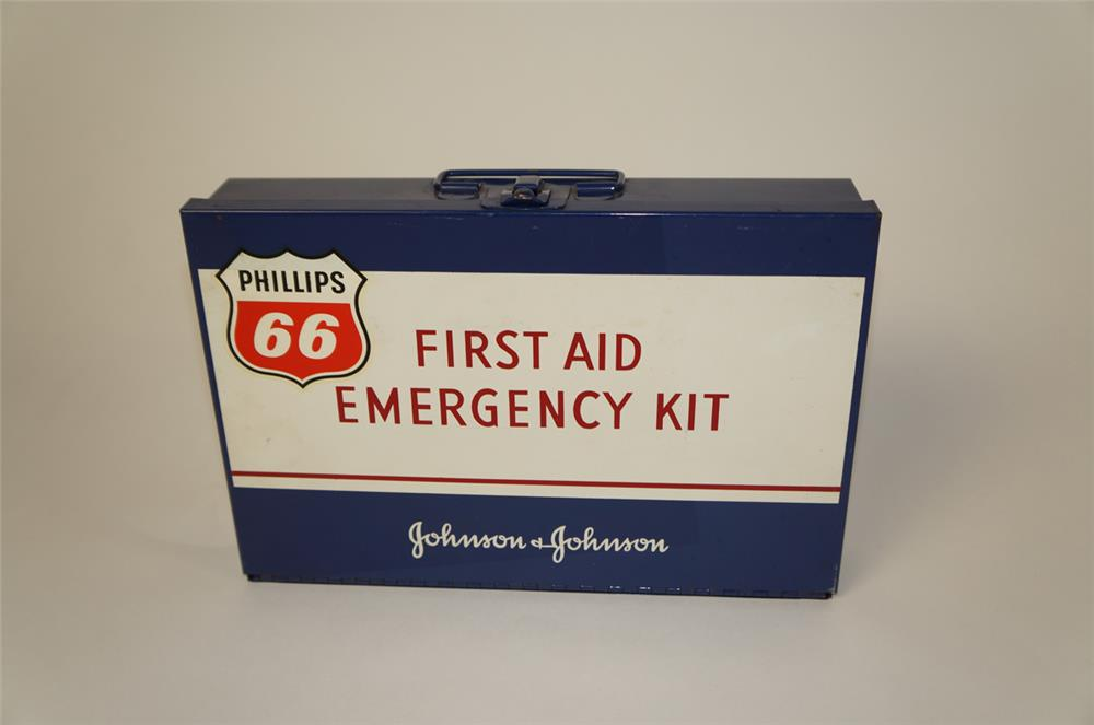 1960's Phillips 66 service station First Aid Emergency kit.  Still full of product. - Front 3/4 - 181968