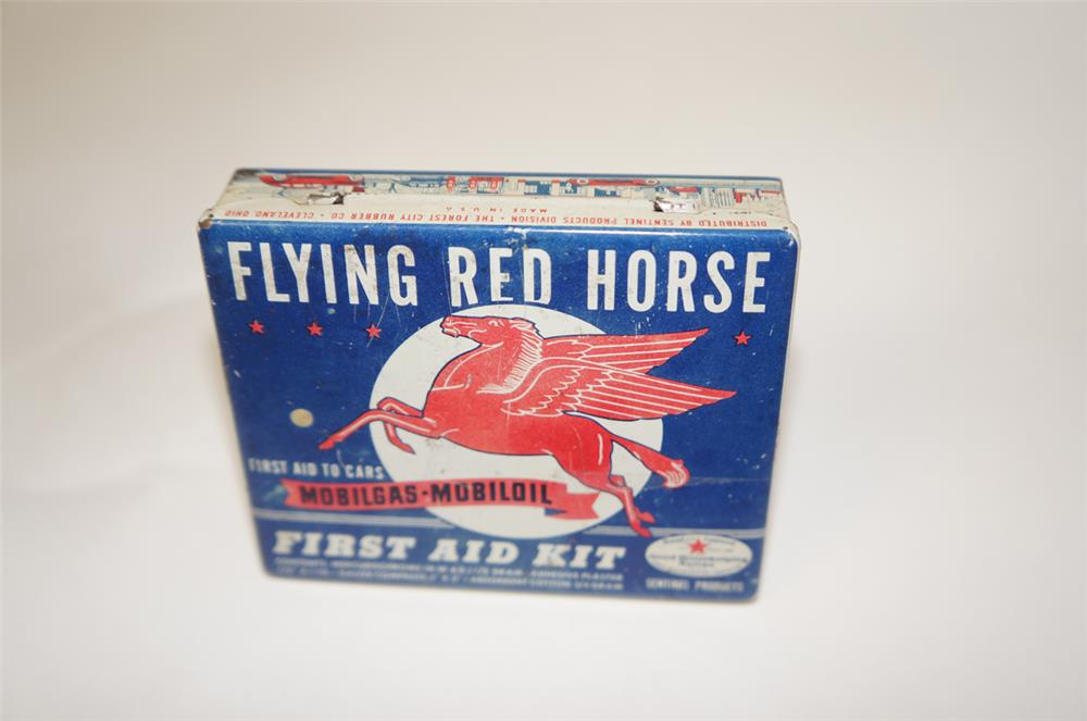 1930's Mobil Oil Flying Red Horse First Aid Kit tin with nice graphics. - Front 3/4 - 181970