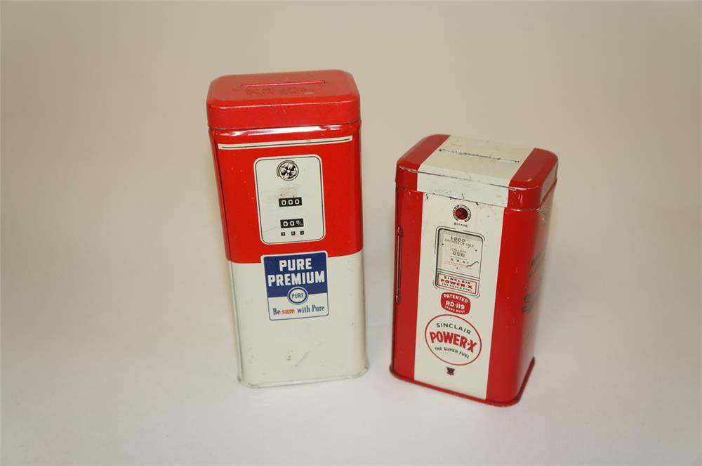 Lot of two NOS. 1950's-60's promotional metal coin banks for Pure and Sinclair gasoline. - Front 3/4 - 181972