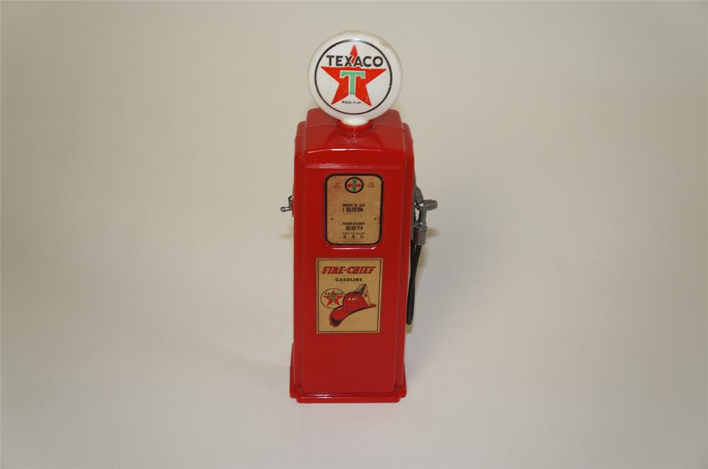 1950's Texaco Oil Fire Chief gas pump shaped promotional coin bank. - Front 3/4 - 181973