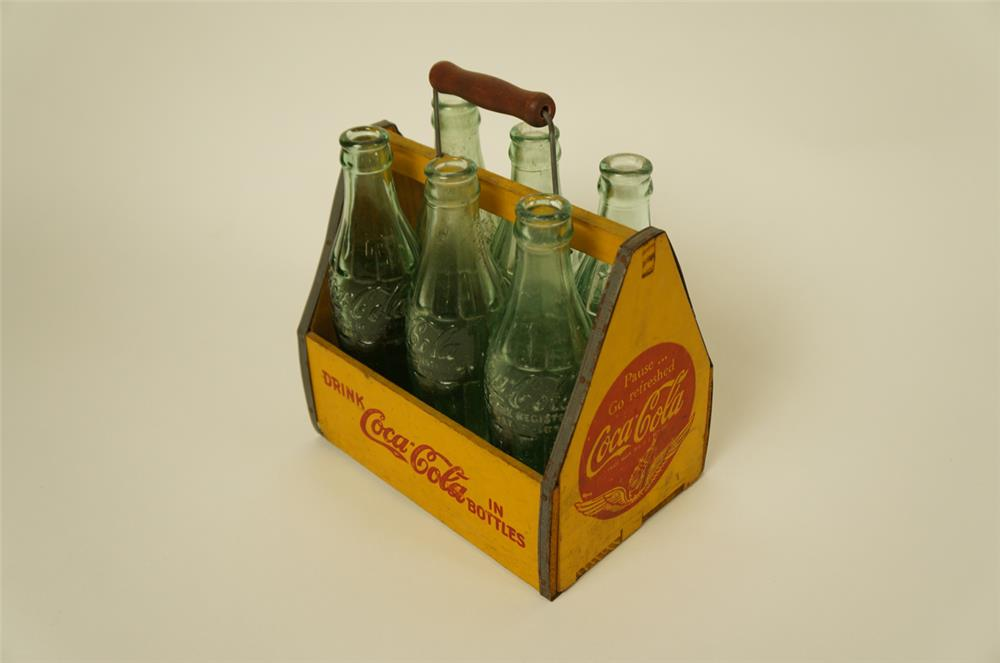 1930's-40's Coca-Cola wooden six pack carrier with six original hobble skirt bottles. - Front 3/4 - 181974