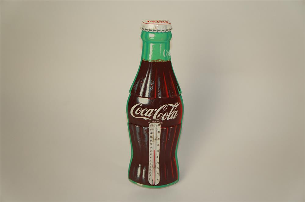 1950's NOS Coca-Cola die-cut three-dimensional tin bottle shaped thermometer. - Front 3/4 - 181976