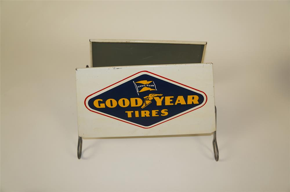 1950's Goodyear Tires metal automotive garage tire display stand with logo. - Front 3/4 - 181984